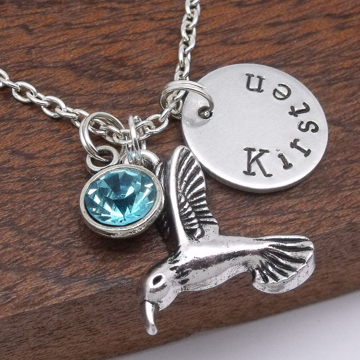 12b0a45077052 Hummingbird name necklace jewellery gift personalised birthstone